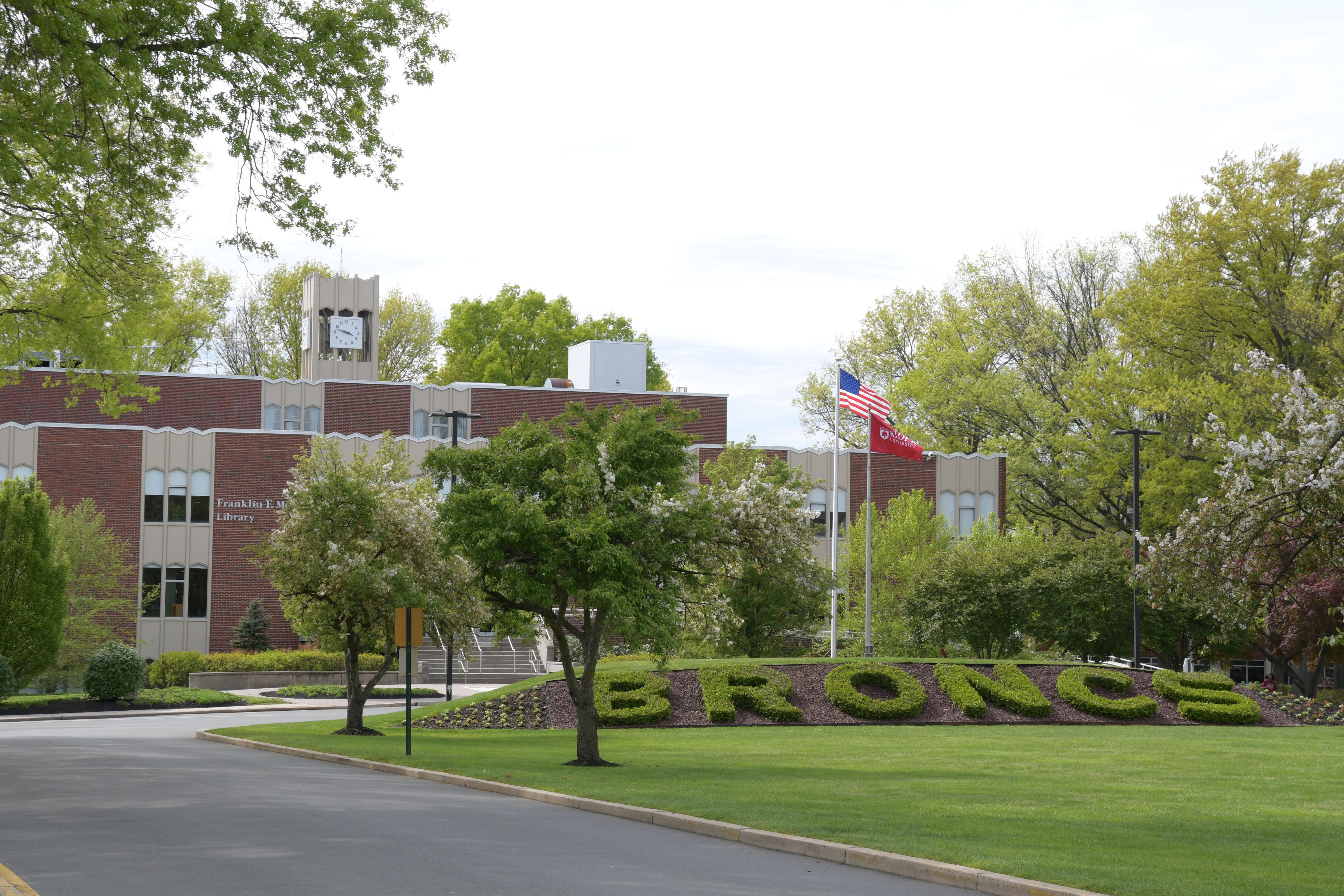 Campus mall in front of Moore Library