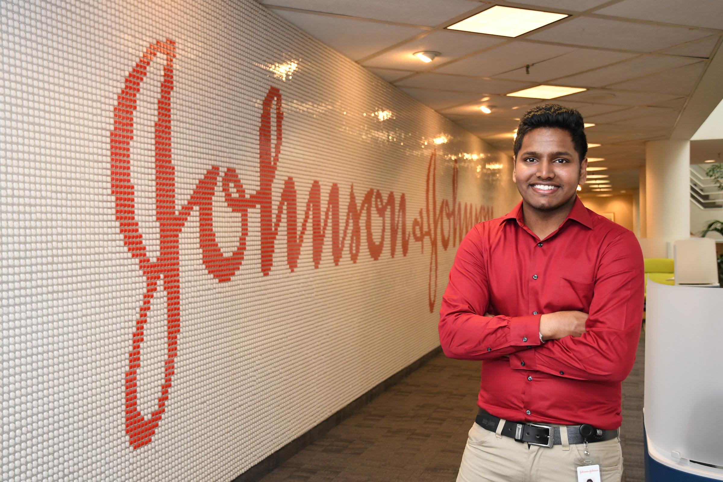Rider student Vivekkumar Govindaswamy at Johnson & Johnson co-op