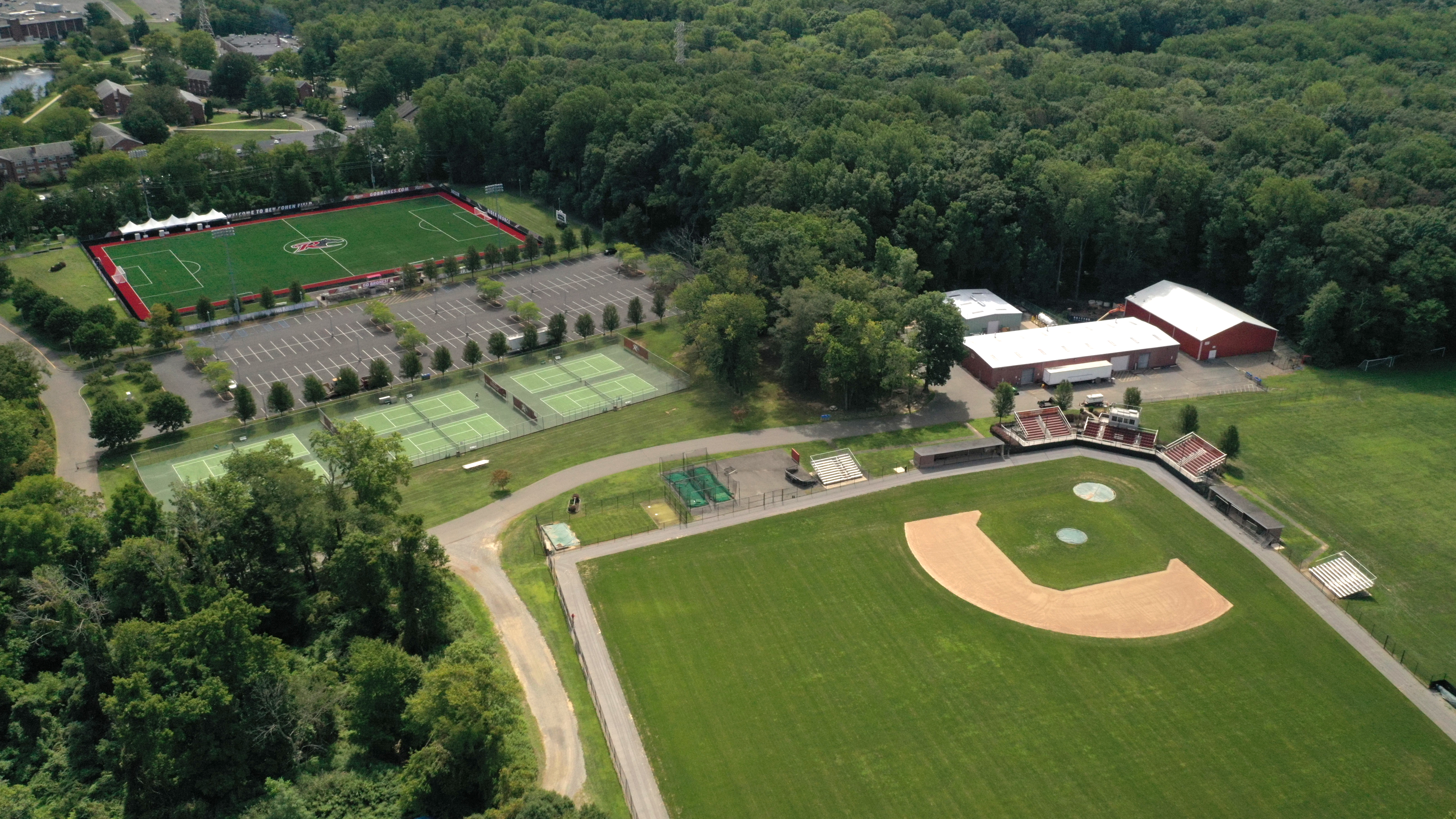 Aerial view of athletic fields