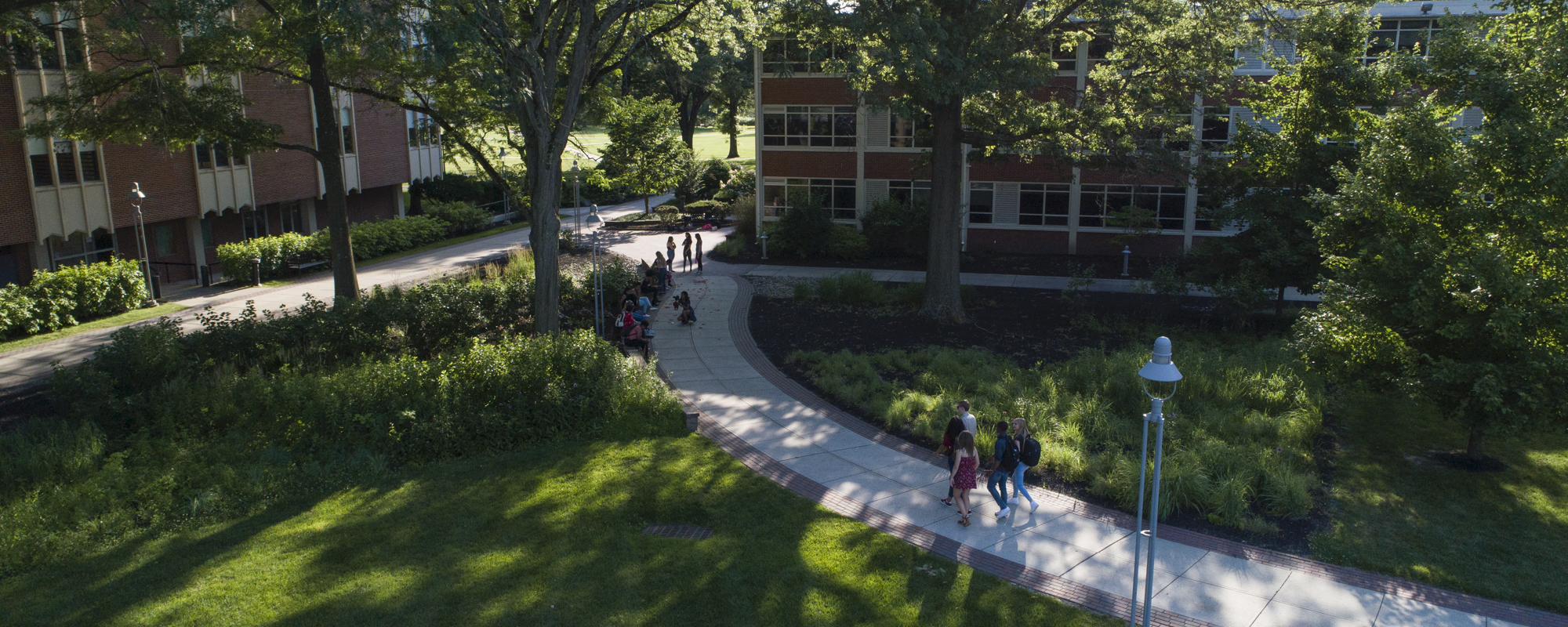 Groups of students walk outside on Rider campus.