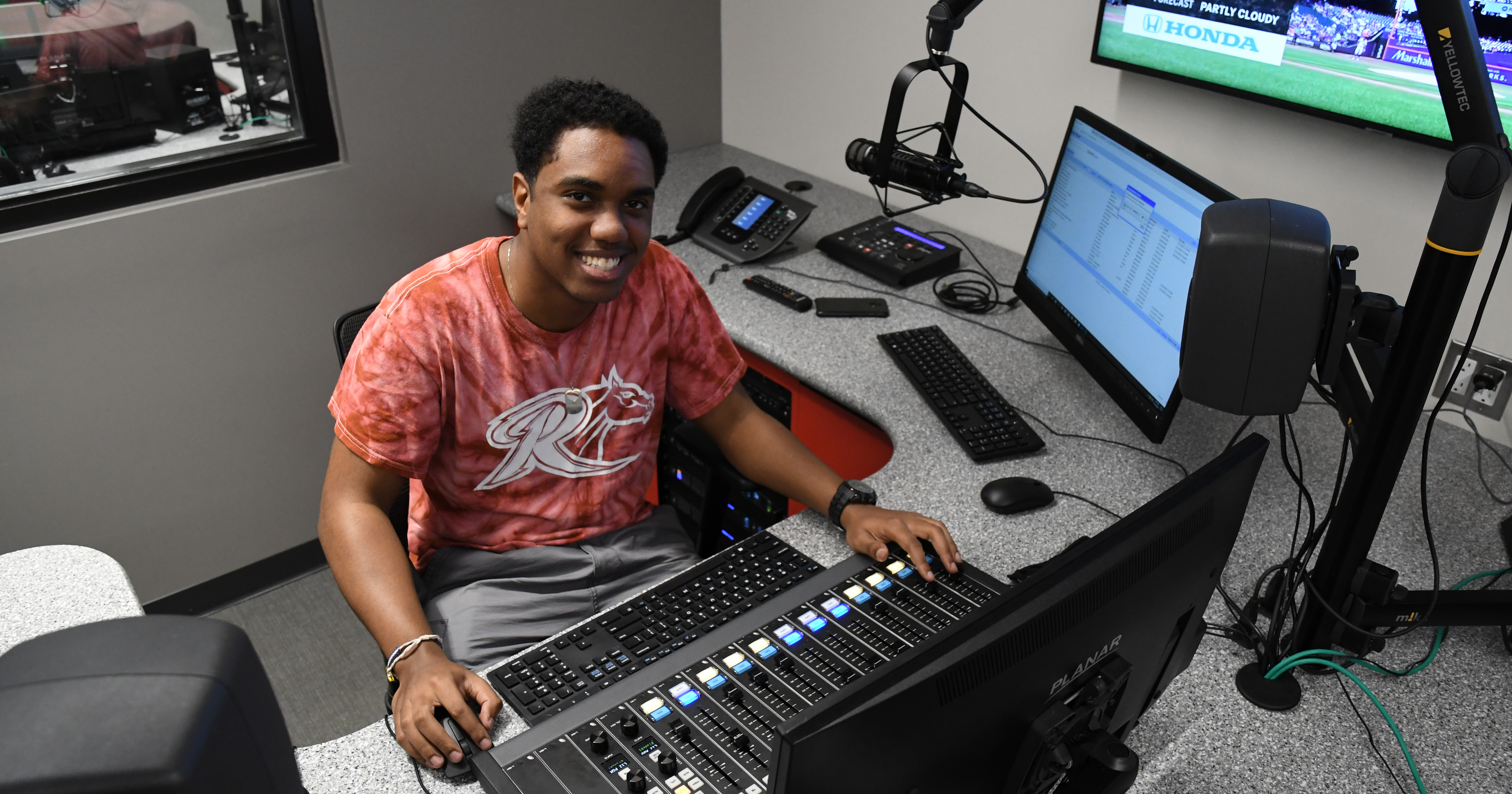 Student broadcasts from Rider radio station