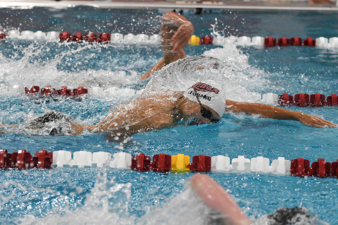 Swimmers compete.