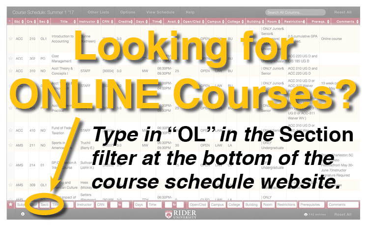 "Looking for ONLINE Courses? Type in ""OL"" in the Section filter at the bottom of the course schedule website."
