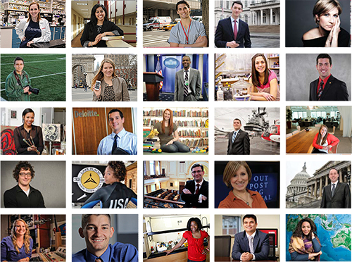 Collage of images representing success stories of Rider alumni