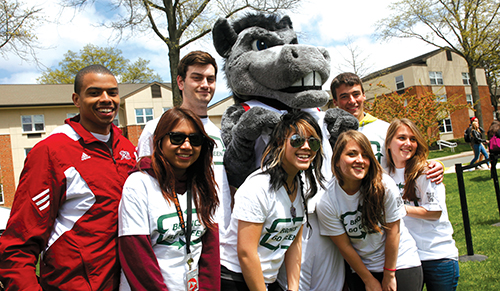 Group of undergraduate students with the Rider Bronc