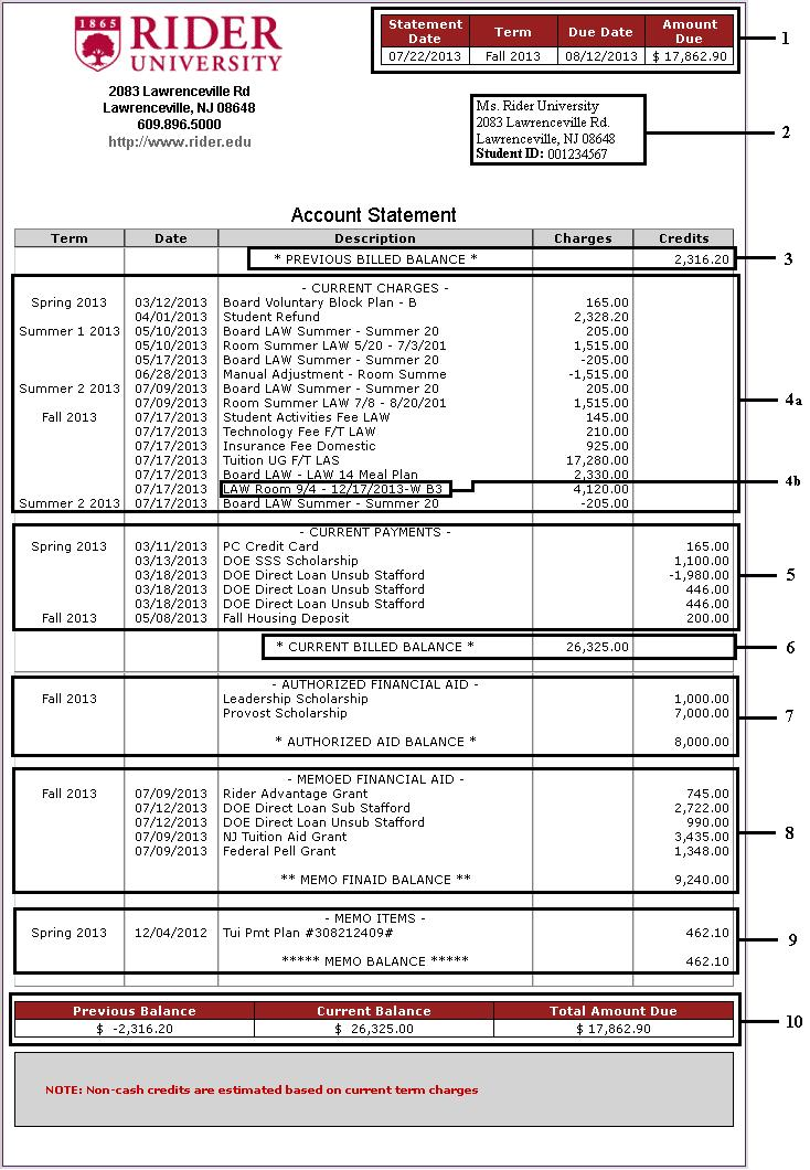 Billing Statement Guides | Rider University