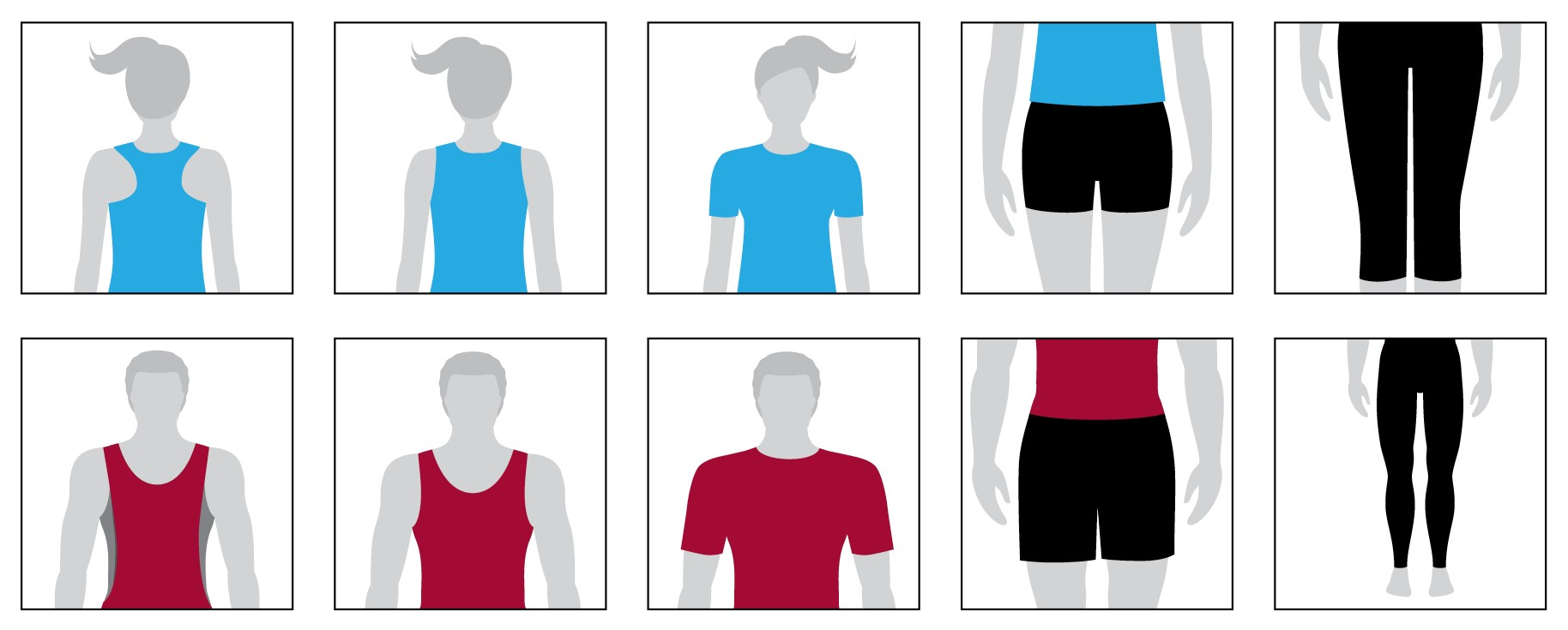 Diagram showing what to wear as noted in the list below the image.