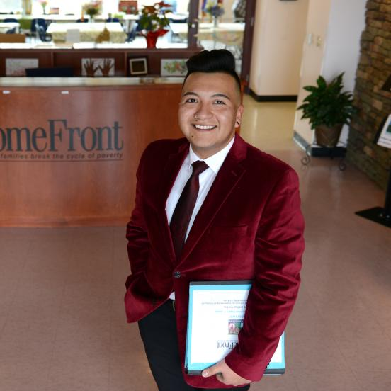 Rider alumnus Walter Saravia '14 at HomeFront office