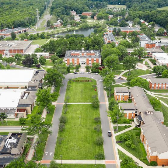 Drone shot of Campus Mall