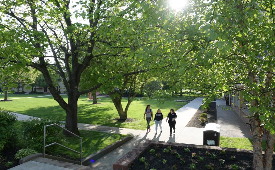 Students walk across campus in spring