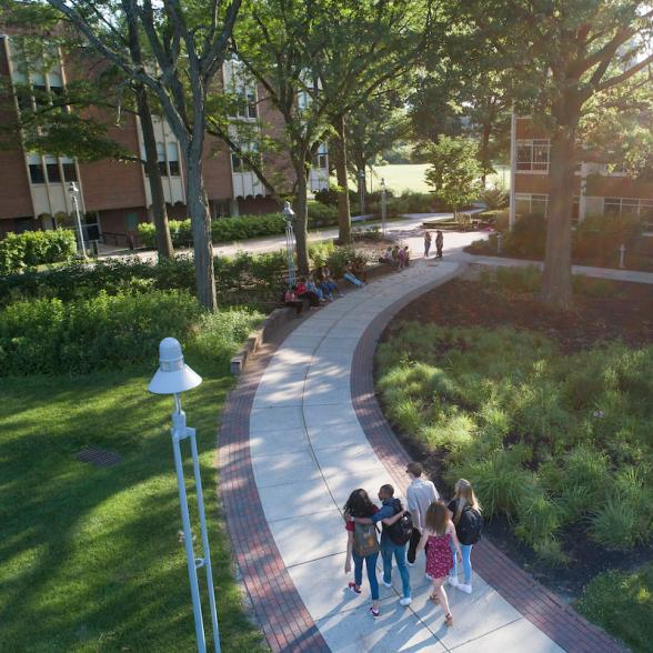 Aerial view of students walking on path