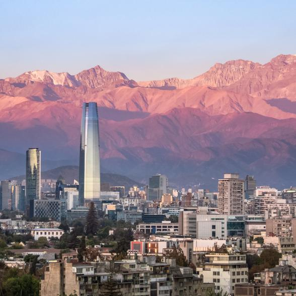 Santiago, Chile skyline at sunset.