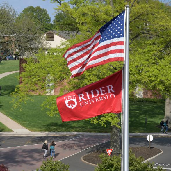 Flags fly over campus
