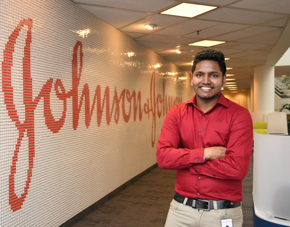 Rider student Vivekkumar Govindaswamy at Johnson & Johnson co-op