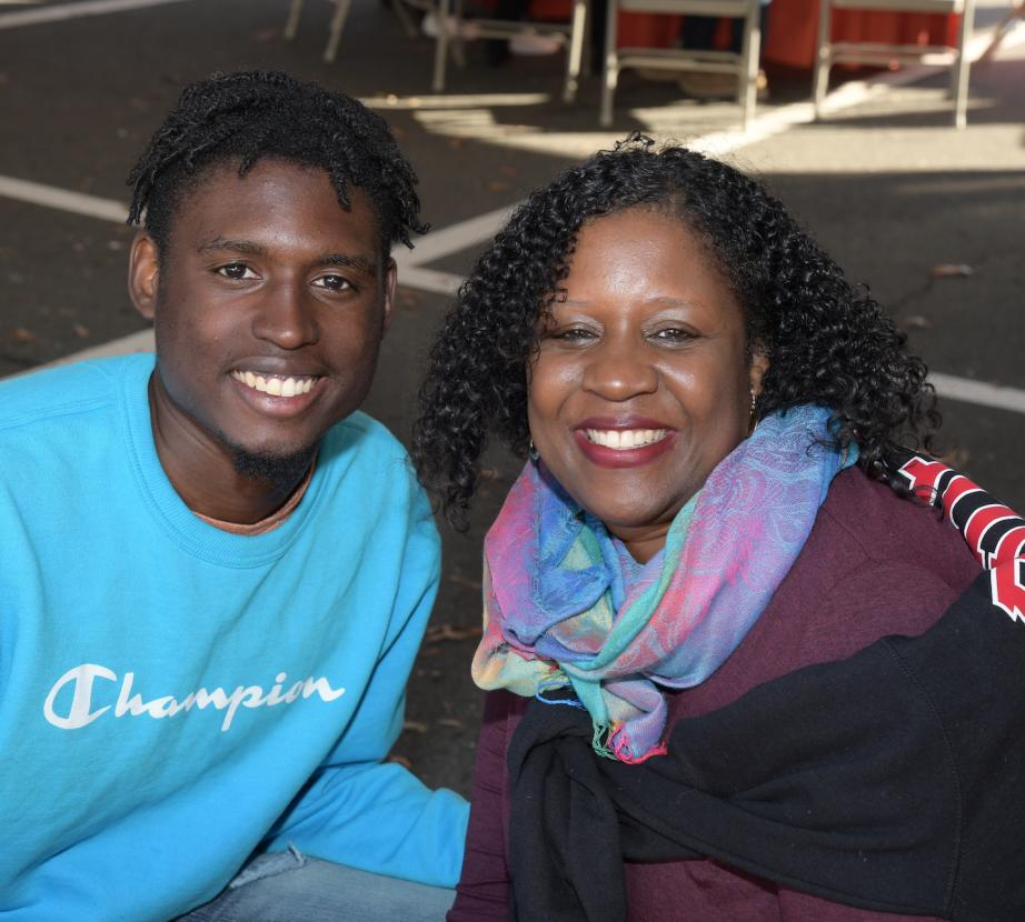 Mother and son at Homecoming Family Weekend