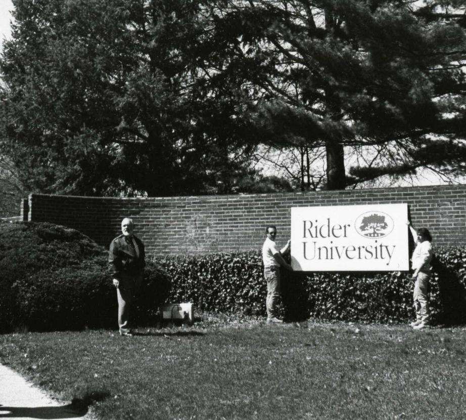 The Rider University sign