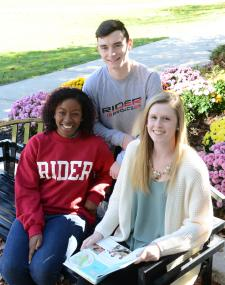 Students sit together on campus